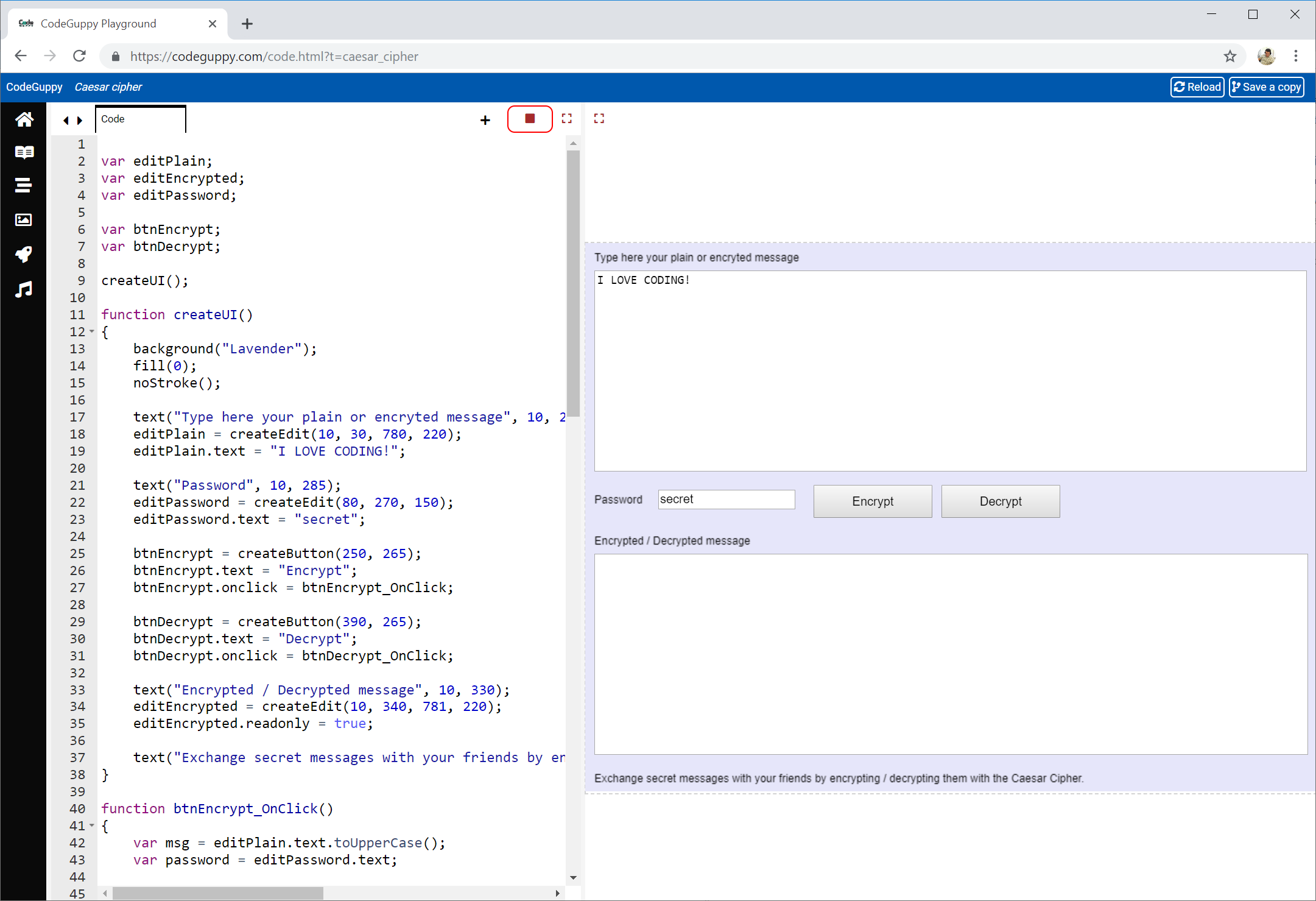 CodeGuppy | JavaScript tutorial - Caesar Cipher